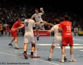 08.06.2013, Handball,  MT Melsungen, HSV Hamburg, v.l. MT, MT, HSV 9 Igor Vori, HSV 19 Stefan Terzic, HSV, MT 10 Malte Schröder